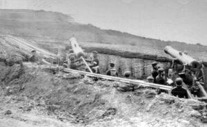 1864 Preussiske belejringskanoner rettet mod Dybbøl.