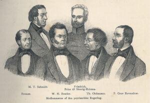 """Oprøret 1848, medlemmer af """"regeringen"""" i Kiel"""