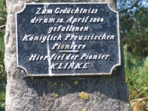 Myten om Pionier Klinke, Denkmal på Dybbøl skanse II