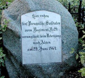 Angrebet på Als, gravsten for druknede preussere ved Sottrup skov