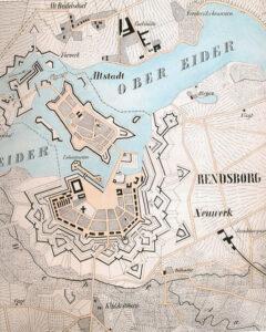 Oprøret 1848, kort over Rendsborg 1845